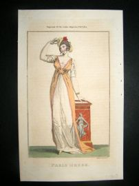 Lady's Magazine 1802 H/Col Regency Fashion Print. Paris Dress 13